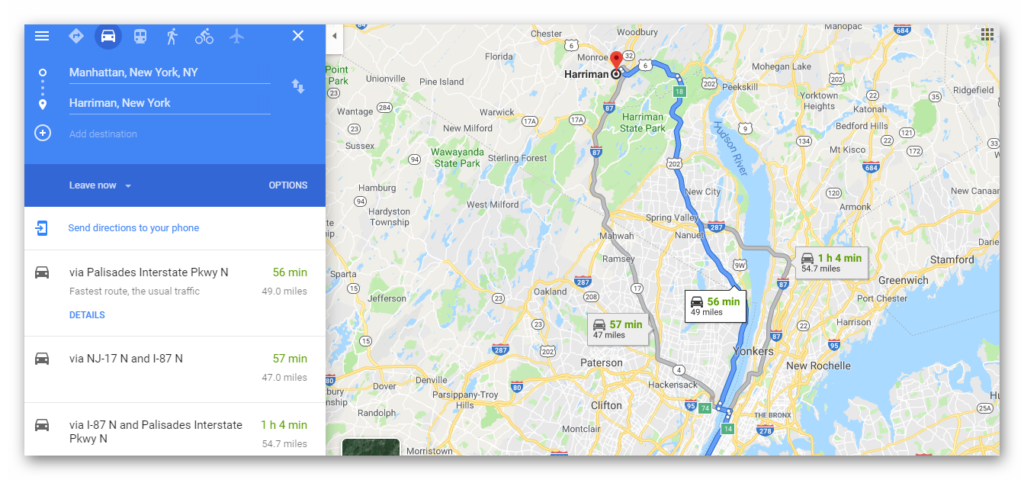 google maps driving directions