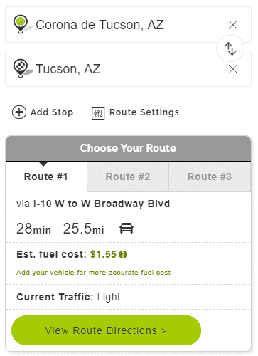 Mapquest Tucson Route Planner