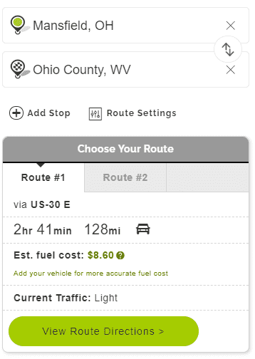Mapquest Ohio Settings